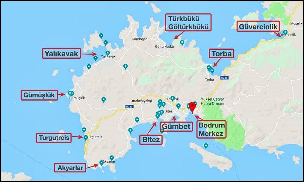 Bodrum Gezi Tatil Haritası