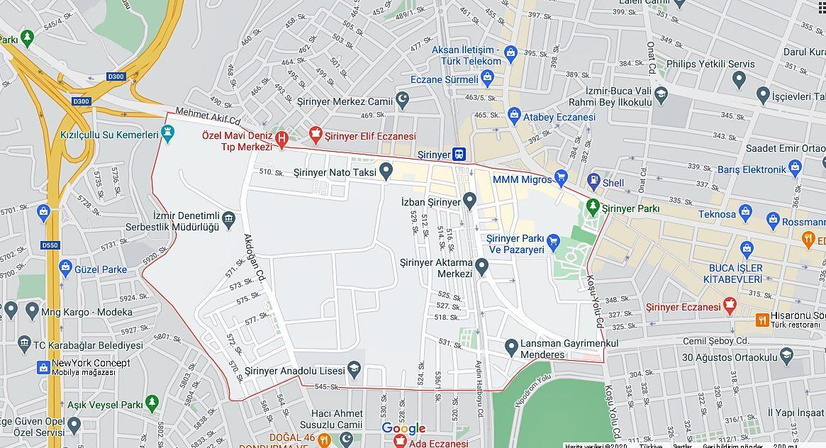 şirinyer harita